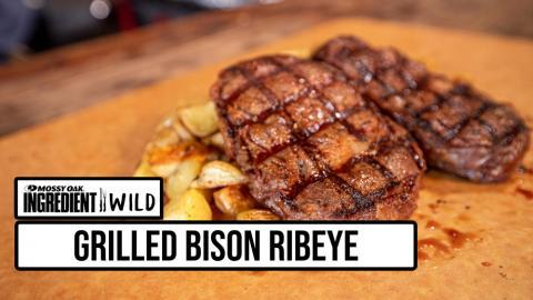 Grilled Bison Ribeyes w/ Roasted Yukon Gold Potatoes