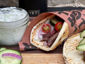 Smoked Elk Gyros with Homemade Tzatziki Sauce